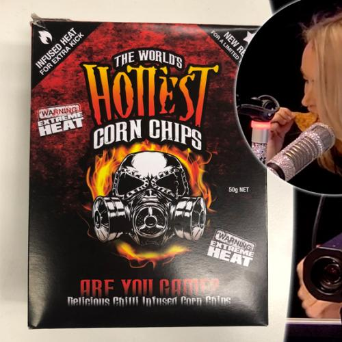 Jackie Tries The World's Hottest Corn Chips Live On Air
