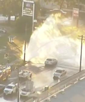 Burst Water Main Causes Traffic Chaos In Sydney's West