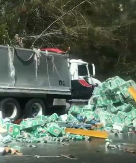Beer Truck Drops Load All Over Aussie Highway