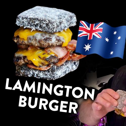 Kyle & Jackie O try the Lamington Burger 🤔🇦🇺