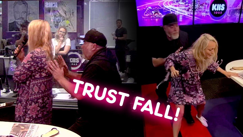 #KJTrustTest - Jackie does a TRUST FALL on Kyle