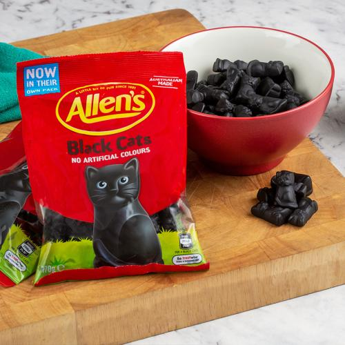 Love 'Em Or Hate 'Em - Allen's Black Cats Lollies Now Come In Their Own Packet!