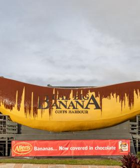 Iconic Big Banana Splattered With Chocolate-Like Syrup